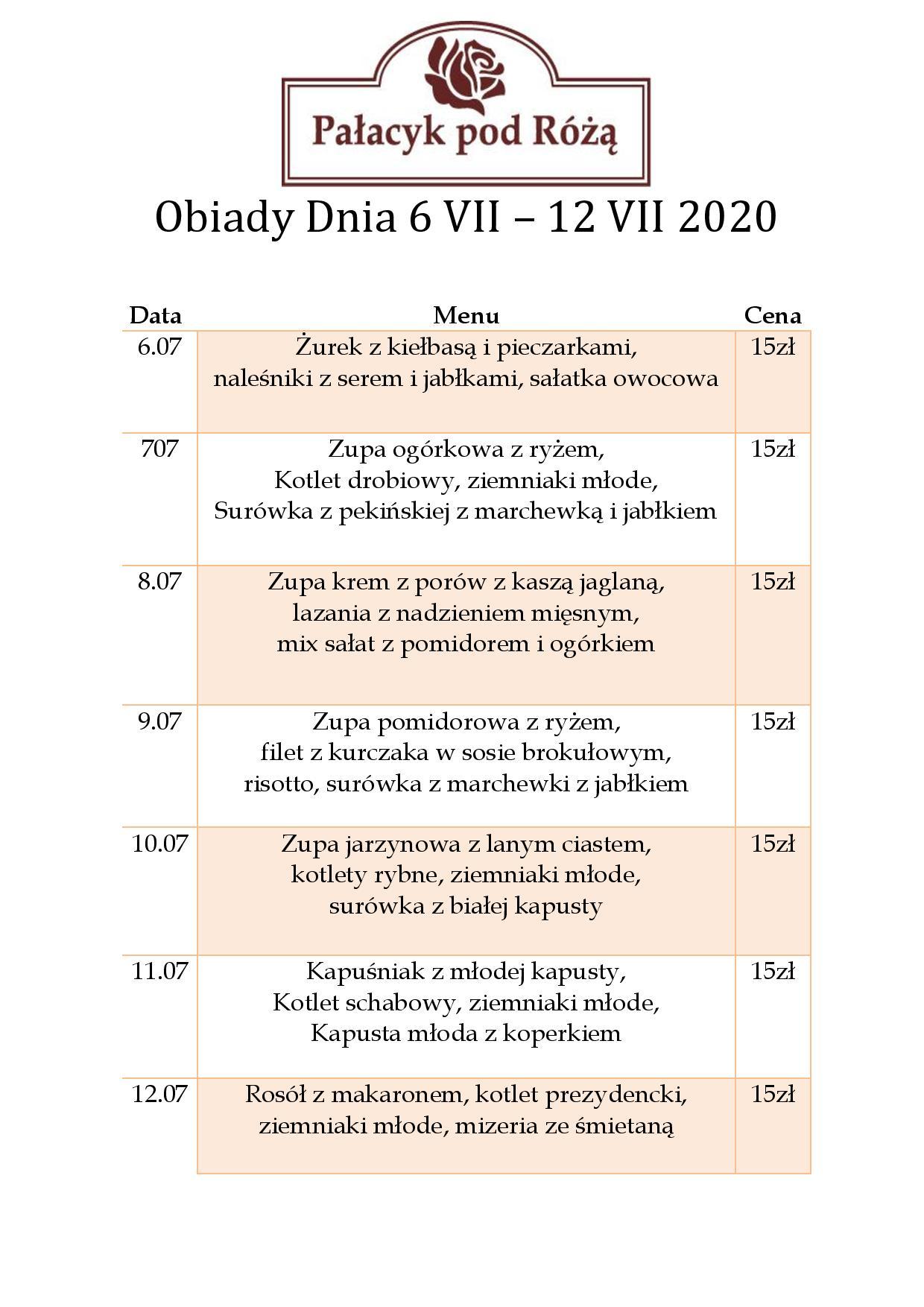 Obiady Dnia 6 VII – 12 VII 2020