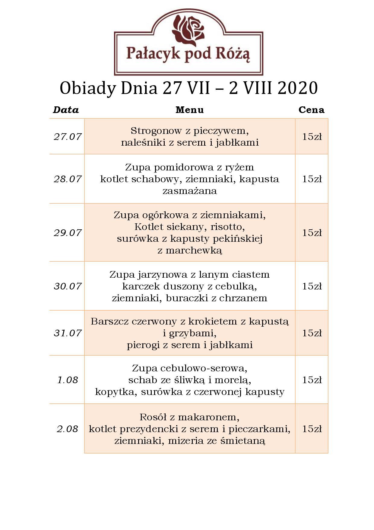 Obiady Dnia 27 VII – 2 VIII 2020